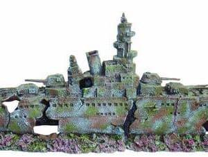 XL WW2 Battleship Aquarium Ornament 2 Part
