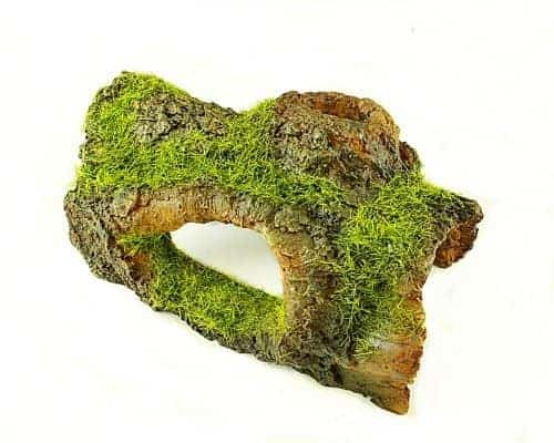 Half Log Aquarium Ornament with Moss