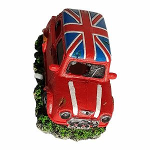 Mini Cooper Car With Union Jack Roof Aquarium Ornament, Red Color