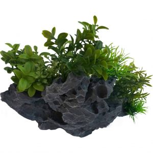 Plant on Rock Aquarium Ornament