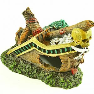 Galleon On Rocks Aquarium Ornament
