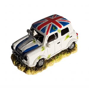 Mini Cooper Car With Union Jack Roof Aquarium Ornament, White Color