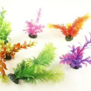 6 Pack Assorted Plastic Aquarium Plants 6 Inch Tall