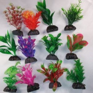 12 Pack Assorted Plastic Aquarium Plants 3 Inch Tall