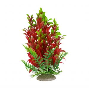 Burgundy and Green Plastic Aquarium Plant with Base 8 Inch Tall
