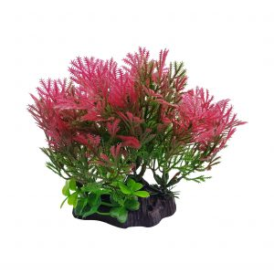 Red Plant On Base Aquarium Ornament