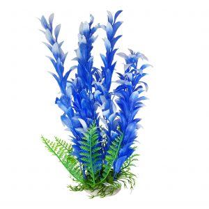 Blue Leaf Aquarium Plant 8-9 Inch, Artificial Fish Tank Ornament