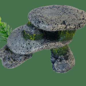 Gray Rock Pebble Formation Medium Aquarium Ornament