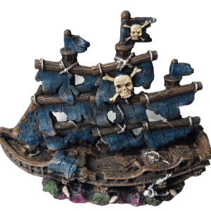 Small Pirate Ship with Blue Sails Aquarium Ornament