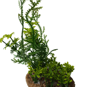 Green Plant With Sand Base, 9 Inch Tall. Lifelike looking aquarium plant, has different lengths of strands and assorted plant leaves.