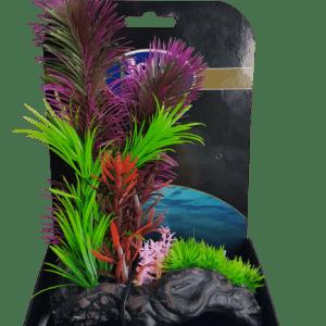 Natural Gardens Plants on Rock Base Artificial Aquarium Ornament