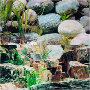 "Double Sided Aquarium Background 15"" x 48"" (40cmx120cm) Deep in Rock & Boulder Design"